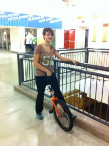 My first try unicycling